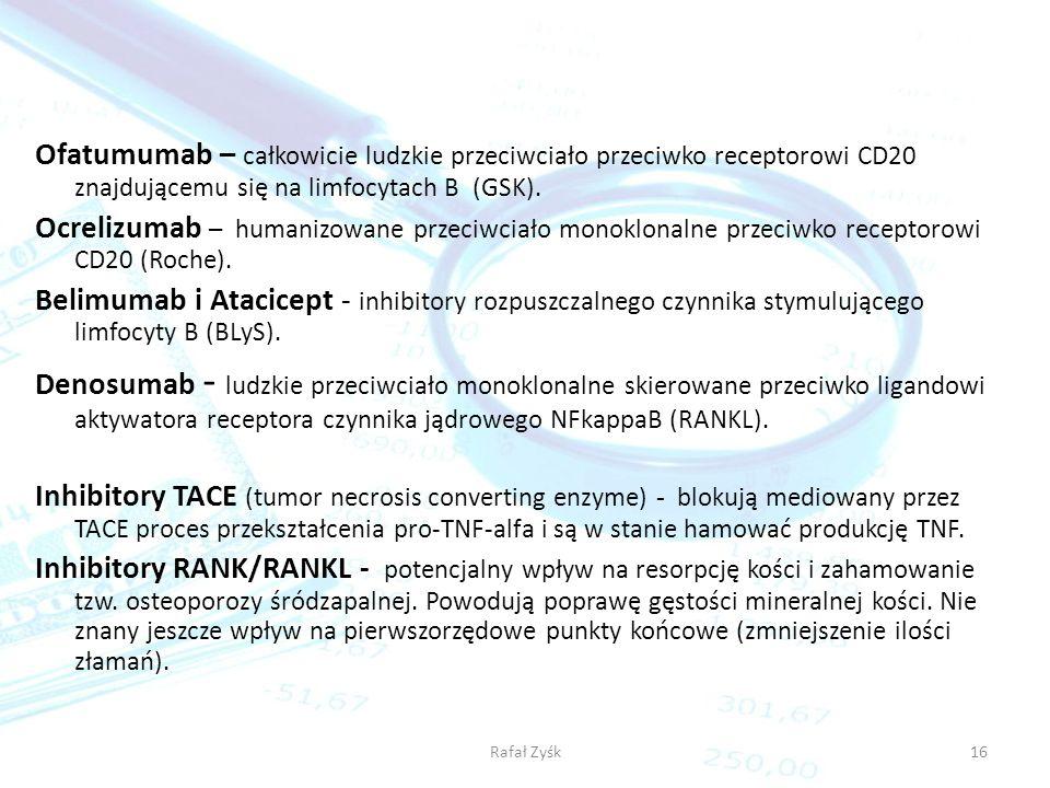 Rafał Zyśk16 Ofatumumab – całkowicie ludzkie przeciwciało przeciwko receptorowi CD20 znajdującemu się na limfocytach B (GSK). Ocrelizumab – humanizowa