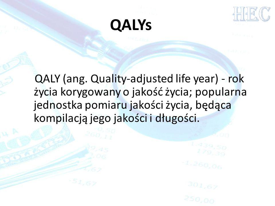QALY (ang. Quality-adjusted life year) - rok życia korygowany o jakość życia; popularna jednostka pomiaru jakości życia, będąca kompilacją jego jakośc