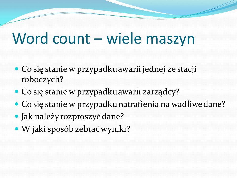 Word count – wiele maszyn Co się stanie w przypadku awarii jednej ze stacji roboczych.