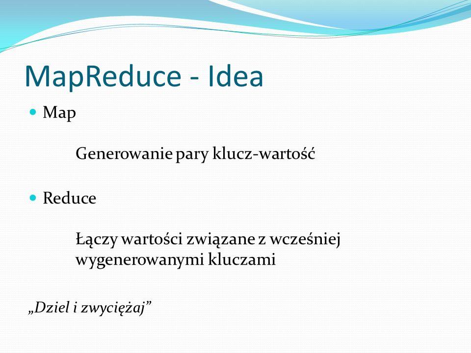 MapReduce - Idea Map Generowanie pary klucz-wartość Reduce Łączy wartości związane z wcześniej wygenerowanymi kluczami Dziel i zwyciężaj