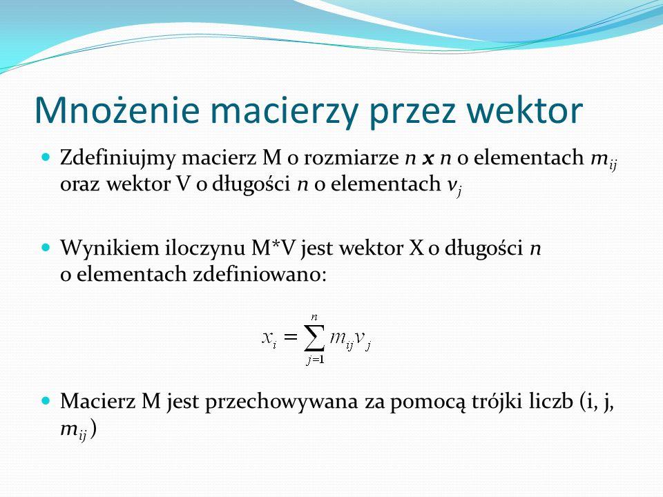 Mnożenie macierzy przez wektor Zdefiniujmy macierz M o rozmiarze n x n o elementach m ij oraz wektor V o długości n o elementach v j Wynikiem iloczynu M*V jest wektor X o długości n o elementach zdefiniowano: Macierz M jest przechowywana za pomocą trójki liczb (i, j, m ij )