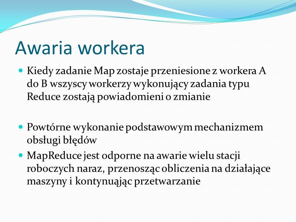 Awaria workera Kiedy zadanie Map zostaje przeniesione z workera A do B wszyscy workerzy wykonujący zadania typu Reduce zostają powiadomieni o zmianie