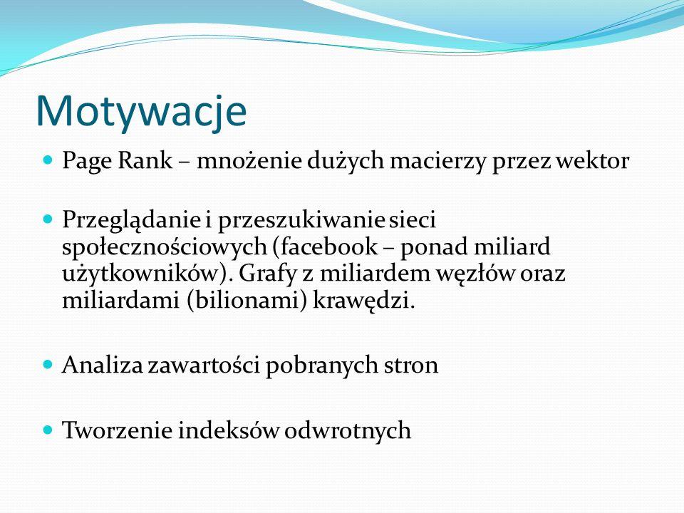 Motywacje Page Rank – mnożenie dużych macierzy przez wektor Przeglądanie i przeszukiwanie sieci społecznościowych (facebook – ponad miliard użytkowników).
