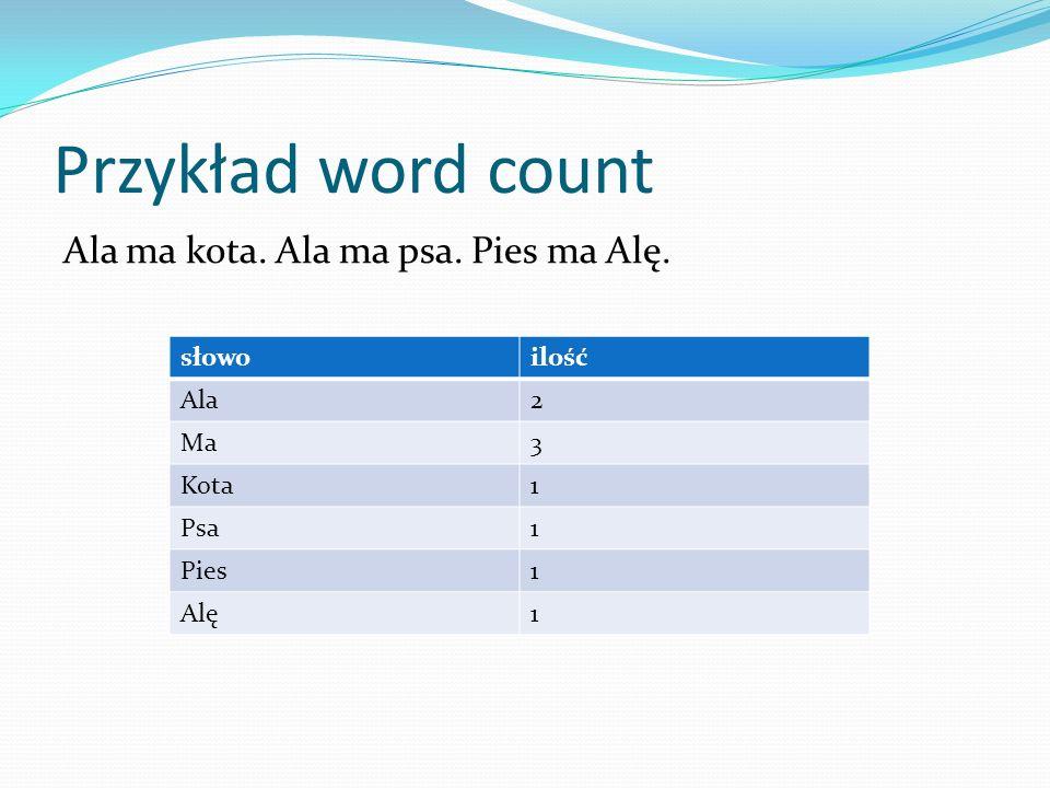 Przykład word count Ala ma kota. Ala ma psa. Pies ma Alę. słowoilość Ala Ma Kota Psa Pies Alę słowoilość Ala2 Ma3 Kota1 Psa1 Pies1 Alę1