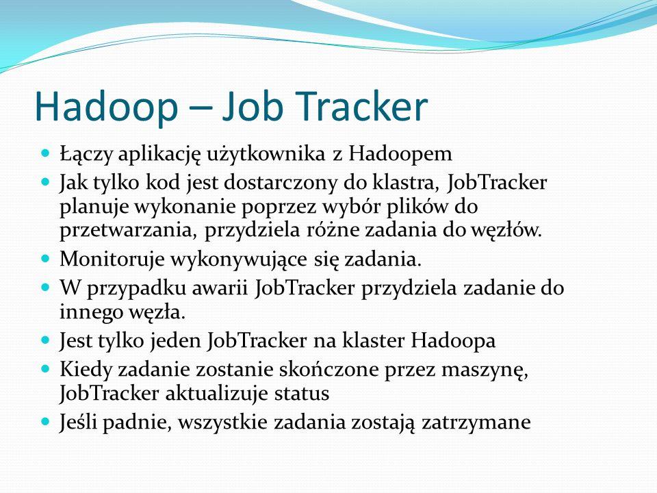 Hadoop – Job Tracker Łączy aplikację użytkownika z Hadoopem Jak tylko kod jest dostarczony do klastra, JobTracker planuje wykonanie poprzez wybór plików do przetwarzania, przydziela różne zadania do węzłów.