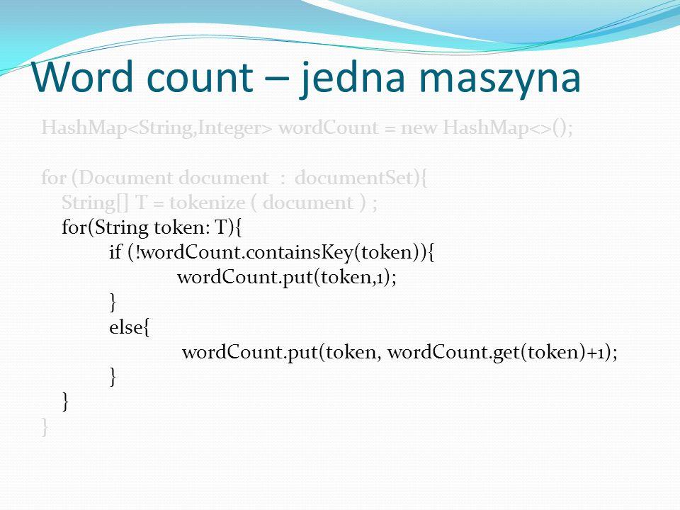 Hadoop - NameNode Zarządza Hadoop File System (HDFS), kieruje niskopoziomowymi operacjami we/wyj na DataNode Śledzi podział danych (plików) na bloki, wie gdzie te bloki się znajdują NameNode zazwyczaj nie przechowuje żadnych danych oraz nie robi żadnych obliczeń dla procesu MapReduce W przypadku awarii NameNode HDFS nie działa.