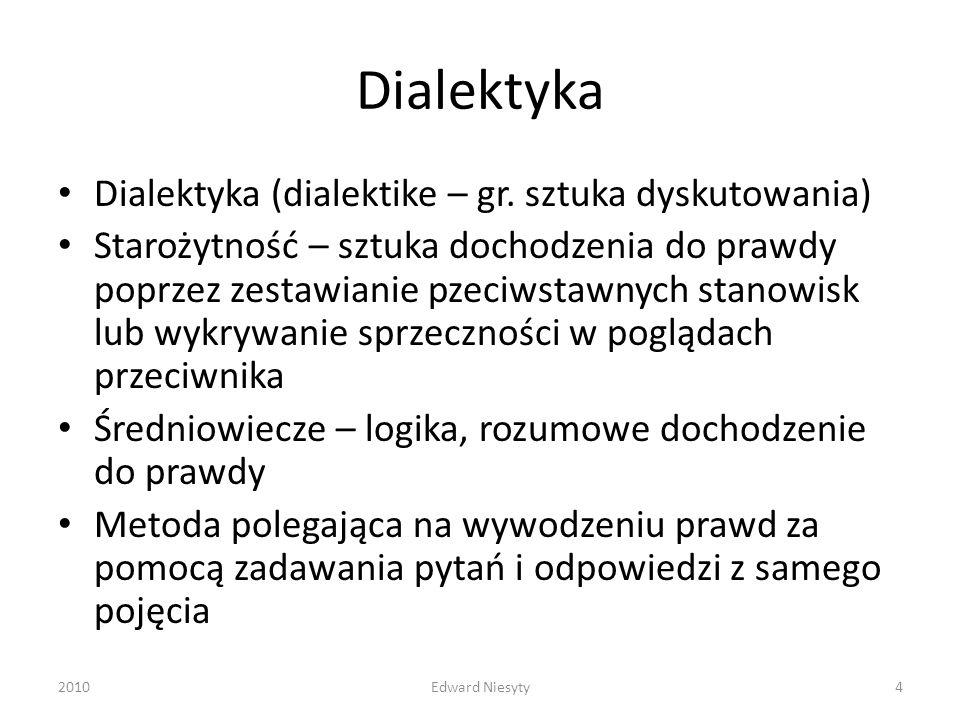 Dialektyka Dialektyka (dialektike – gr. sztuka dyskutowania) Starożytność – sztuka dochodzenia do prawdy poprzez zestawianie pzeciwstawnych stanowisk
