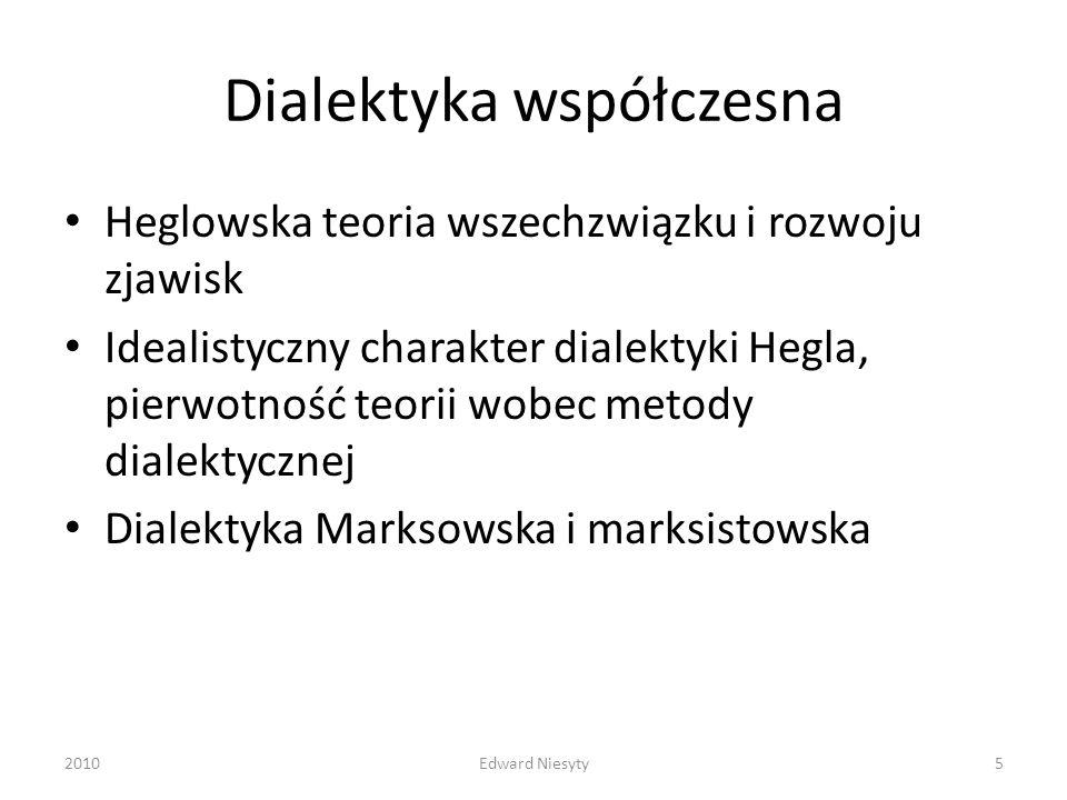 Dialektyka współczesna Heglowska teoria wszechzwiązku i rozwoju zjawisk Idealistyczny charakter dialektyki Hegla, pierwotność teorii wobec metody dial