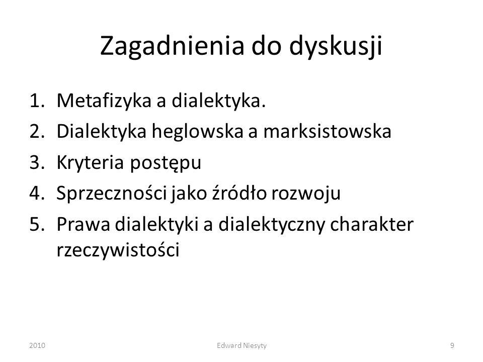 Zagadnienia do dyskusji 1.Metafizyka a dialektyka. 2.Dialektyka heglowska a marksistowska 3.Kryteria postępu 4.Sprzeczności jako źródło rozwoju 5.Praw