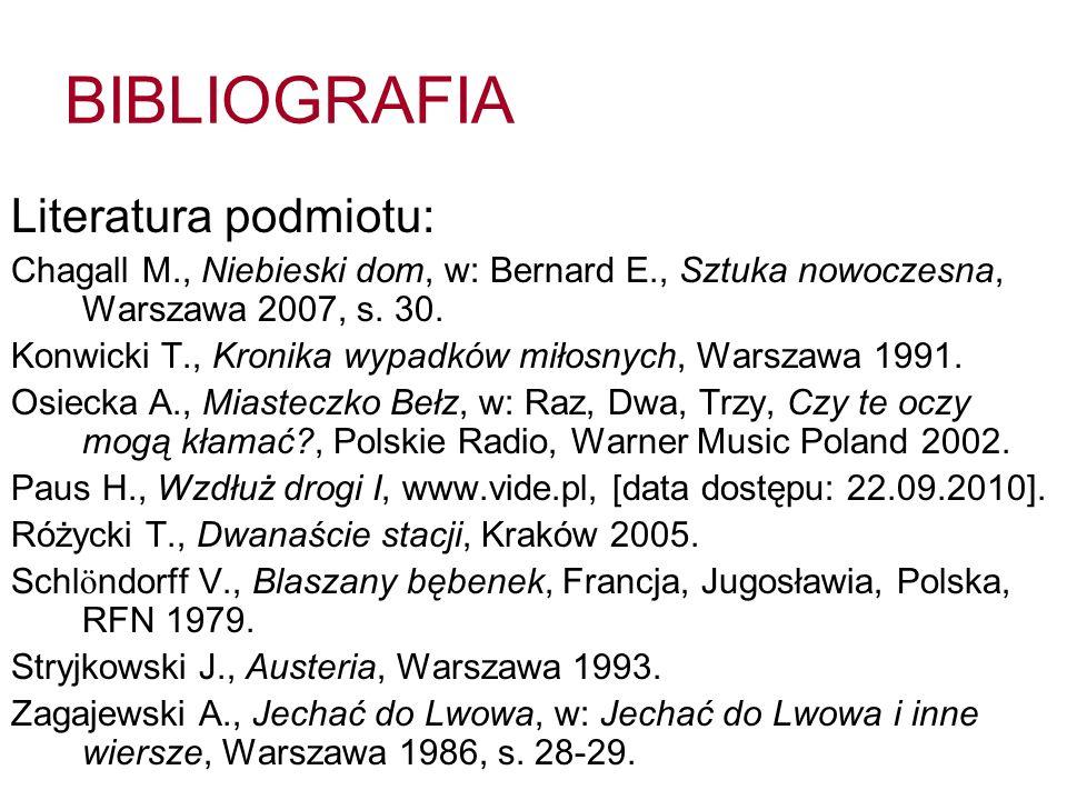 BIBLIOGRAFIA Literatura podmiotu: Chagall M., Niebieski dom, w: Bernard E., Sztuka nowoczesna, Warszawa 2007, s. 30. Konwicki T., Kronika wypadków mił