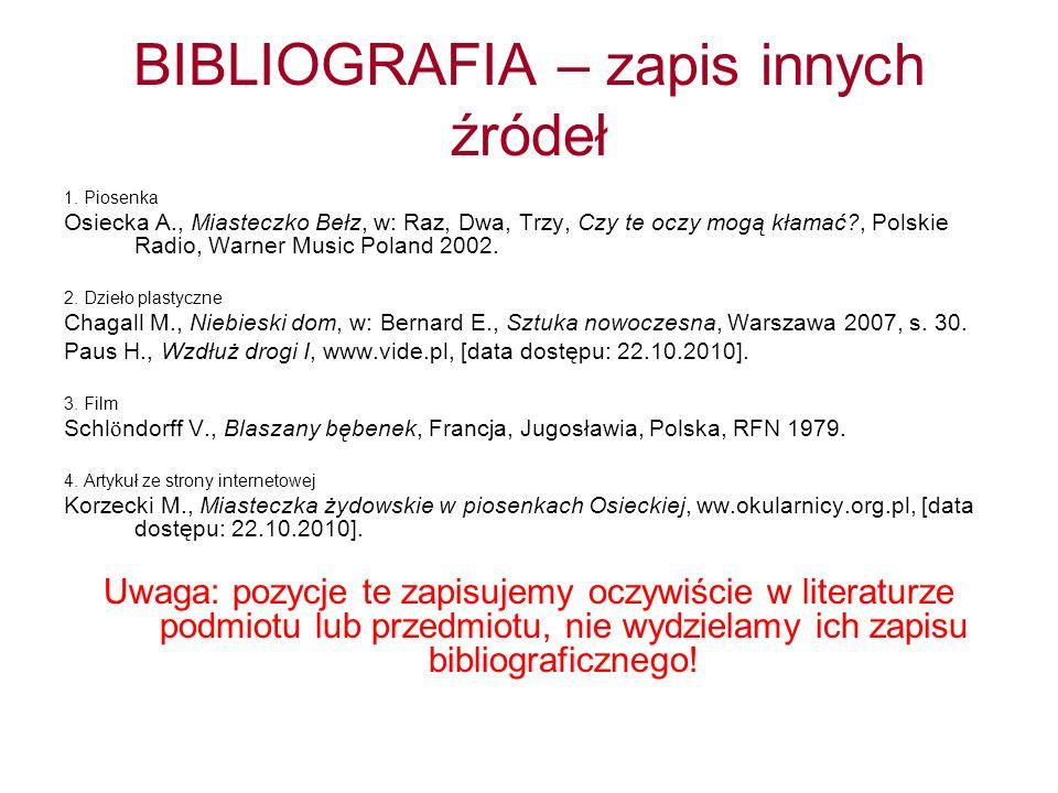 BIBLIOGRAFIA – zapis innych źródeł 1. Piosenka Osiecka A., Miasteczko Bełz, w: Raz, Dwa, Trzy, Czy te oczy mogą kłamać?, Polskie Radio, Warner Music P