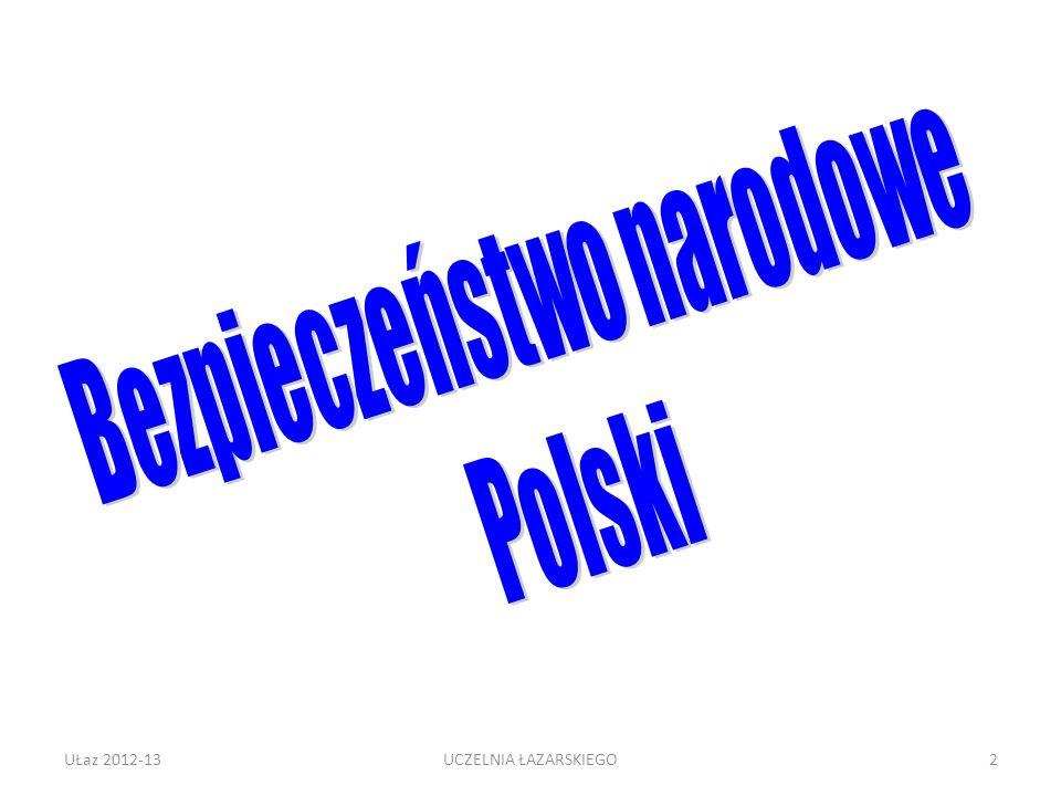 UŁaz 2012-133 HISTORYCZNA EWOLUCJA POLSKIEJ STRATEGII Polska Piastów – obrona na Zachodzie swoboda na Wschodzie Polska Jagiellonów - mocarstwo Upadek i rozbiory – słabość władzy centralnej Polska międzywojenna – równy dystans między Berlinem i Moskwą Polska w UW – ubezwłasnowolnienie strategiczne Samodzielność strategiczna lat 90.