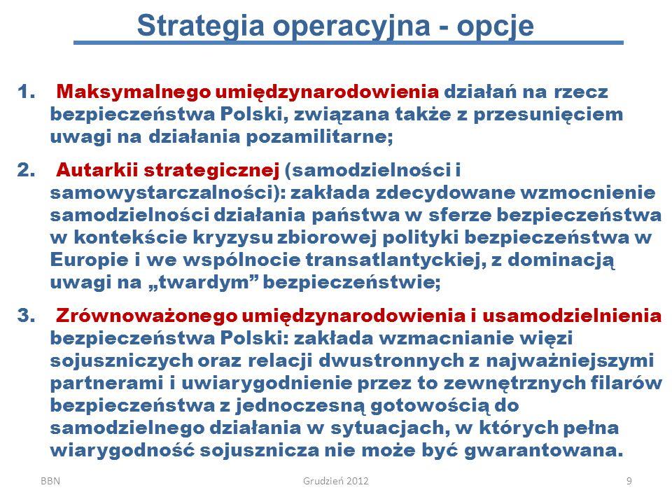 1.Utrzymanie własnej determinacji i gotowości do działania (podmiotowość strategiczna!) w pełnym spektrum dziedzin, obszarów i sektorów bezpieczeństwa narodowego z priorytetowym traktowaniem tych, w których sojusznicze (wspólne) działanie może być utrudnione (sytuacje trudnokonsensusowe); 2.Umacnianie międzynarodowej wspólnoty bezpieczeństwa poprzez działanie na rzecz pogłębiania procesów integracyjnych w Europie opartych na wspólnocie interesów (konsolidacja NATO, wspólnota interesów w UE, partnerstwo z USA); 3.Wspieranie i selektywny udział w międzynarodowym reagowaniu kryzysowym (prewencja, stabilizacja), przeciwdziałającej powstaniu nowych źródeł zagrożeń lub rozprzestrzenianiu się już istniejących kryzysów w wymiarze ponadregionalnym.