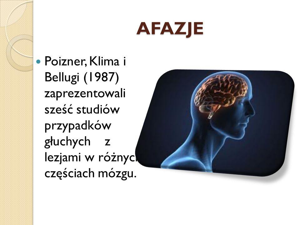 AFAZJE Poizner, Klima i Bellugi (1987) zaprezentowali sześć studiów przypadków głuchych z lezjami w różnych częściach mózgu.