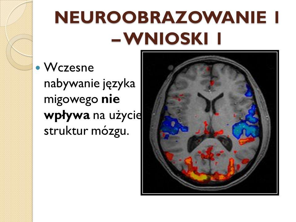 NEUROOBRAZOWANIE 1 – WNIOSKI 1 Wczesne nabywanie języka migowego nie wpływa na użycie struktur mózgu.