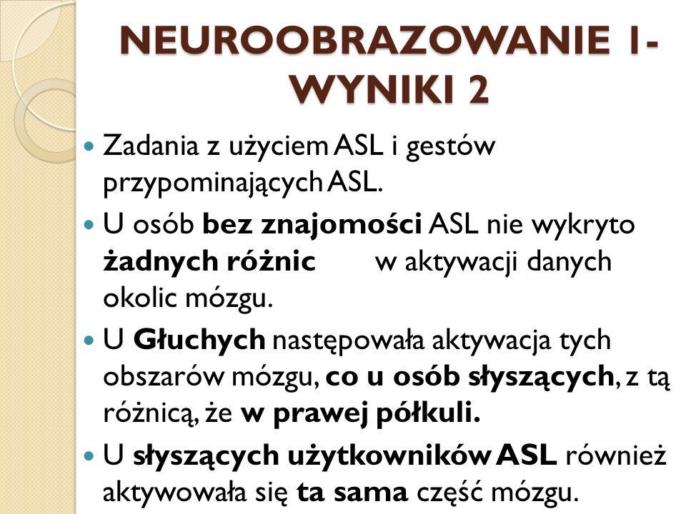 NEUROOBRAZOWANIE 1- WYNIKI 2 Zadania z użyciem ASL i gestów przypominających ASL. U osób bez znajomości ASL nie wykryto żadnych różnic w aktywacji dan