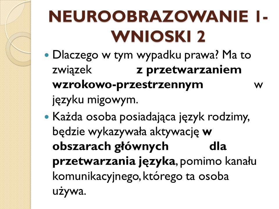 NEUROOBRAZOWANIE 1- WNIOSKI 2 Dlaczego w tym wypadku prawa? Ma to związek z przetwarzaniem wzrokowo-przestrzennym w języku migowym. Każda osoba posiad
