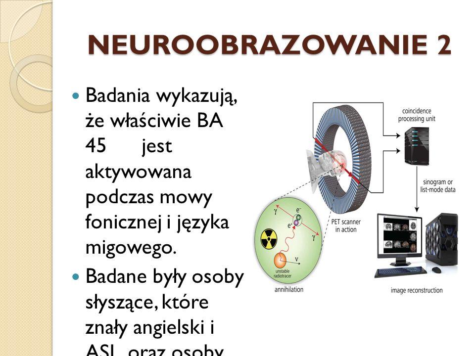 NEUROOBRAZOWANIE 2 Badania wykazują, że właściwie BA 45 jest aktywowana podczas mowy fonicznej i języka migowego. Badane były osoby słyszące, które zn