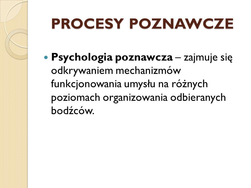 PROCESY POZNAWCZE Psychologia poznawcza – zajmuje się odkrywaniem mechanizmów funkcjonowania umysłu na różnych poziomach organizowania odbieranych bod