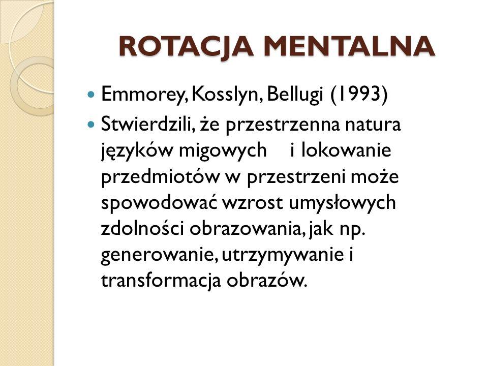 ROTACJA MENTALNA Emmorey, Kosslyn, Bellugi (1993) Stwierdzili, że przestrzenna natura języków migowych i lokowanie przedmiotów w przestrzeni może spow