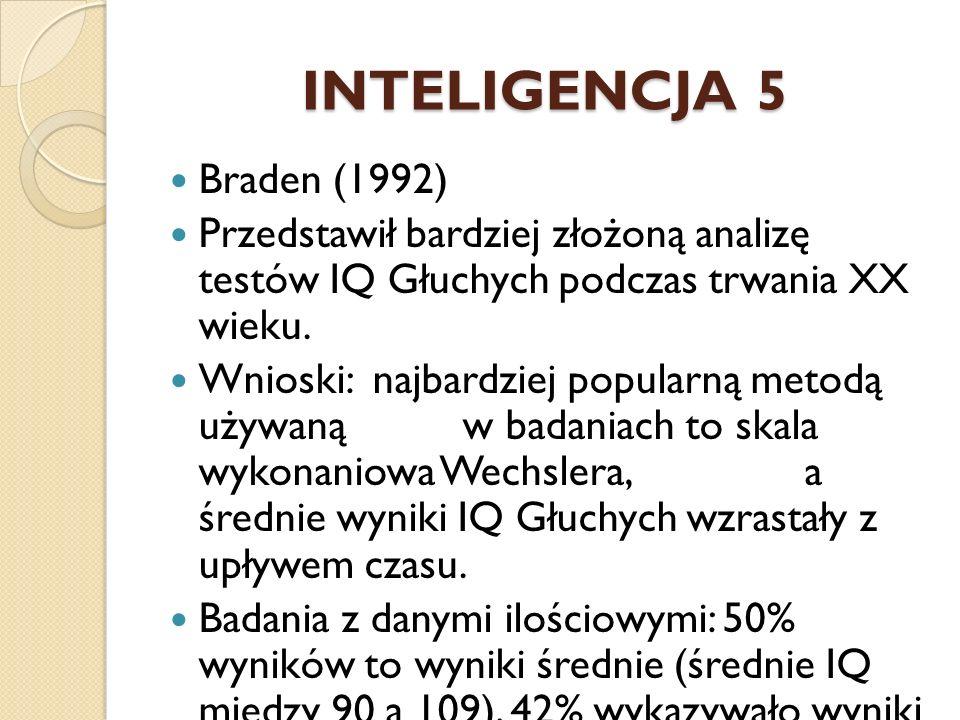 INTELIGENCJA 5 Braden (1992) Przedstawił bardziej złożoną analizę testów IQ Głuchych podczas trwania XX wieku. Wnioski: najbardziej popularną metodą u