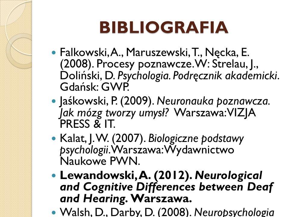 BIBLIOGRAFIA Falkowski, A., Maruszewski, T., Nęcka, E. (2008). Procesy poznawcze. W: Strelau, J., Doliński, D. Psychologia. Podręcznik akademicki. Gda
