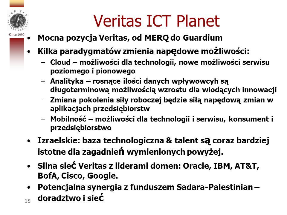 Since 1990 Veritas ICT Planet Mocna pozycja Veritas, od MERQ do Guardium Kilka paradygmatów zmienia nap ę dowe mo ż liwości: –Cloud – możliwości dla technologii, nowe możliwości serwisu poziomego i pionowego –Analityka – rosnące ilości danych wpływowcyh są długoterminową możliwością wzrostu dla wiodących innowacji –Zmiana pokolenia siły roboczej będzie siłą napędową zmian w aplikacjach przedsiębiorstw –Mobilność – możliwości dla technologii i serwisu, konsument i przedsiębiorstwo Izraelskie: baza technologiczna & talent s ą coraz bardziej istotne dla zagadnie ń wymienionych powyżej.