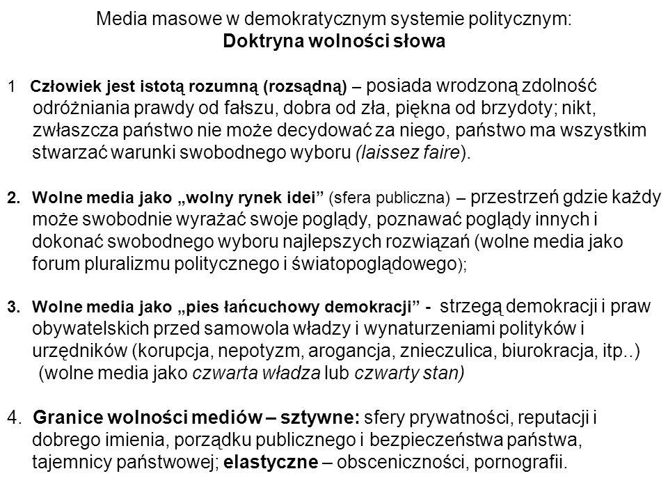 Media masowe w demokratycznym systemie politycznym: Doktryna wolności słowa 1 Człowiek jest istotą rozumną (rozsądną) – posiada wrodzoną zdolność odró