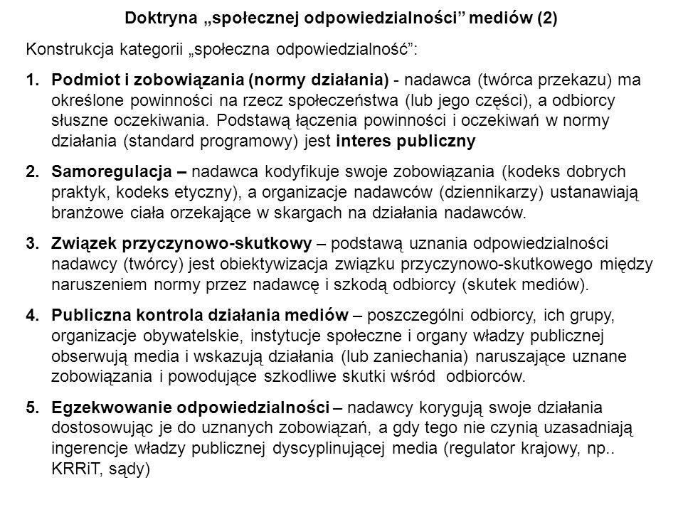 Doktryna społecznej odpowiedzialności mediów (2) Konstrukcja kategorii społeczna odpowiedzialność: 1.Podmiot i zobowiązania (normy działania) - nadawc