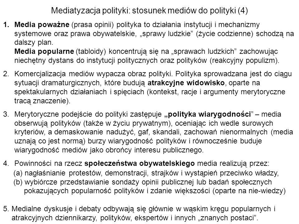 Mediatyzacja polityki: stosunek mediów do polityki (4) 1.Media poważne (prasa opinii) polityka to działania instytucji i mechanizmy systemowe oraz pra