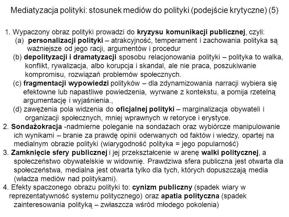 Mediatyzacja polityki: stosunek mediów do polityki (podejście krytyczne) (5) 1. Wypaczony obraz polityki prowadzi do kryzysu komunikacji publicznej, c