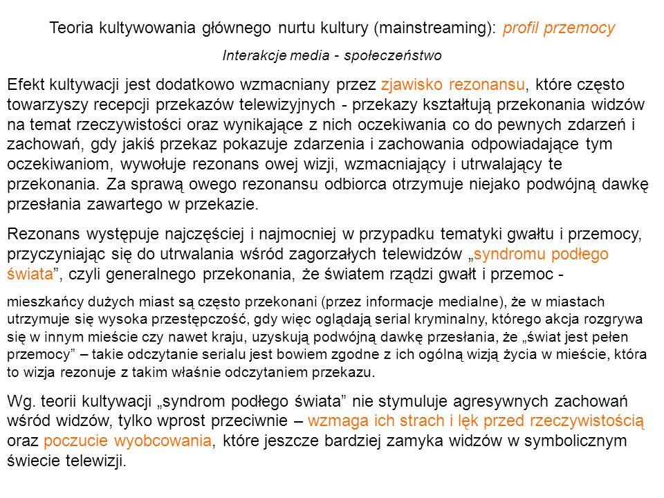 Teoria kultywowania głównego nurtu kultury (mainstreaming): profil przemocy Interakcje media - społeczeństwo Efekt kultywacji jest dodatkowo wzmacnian