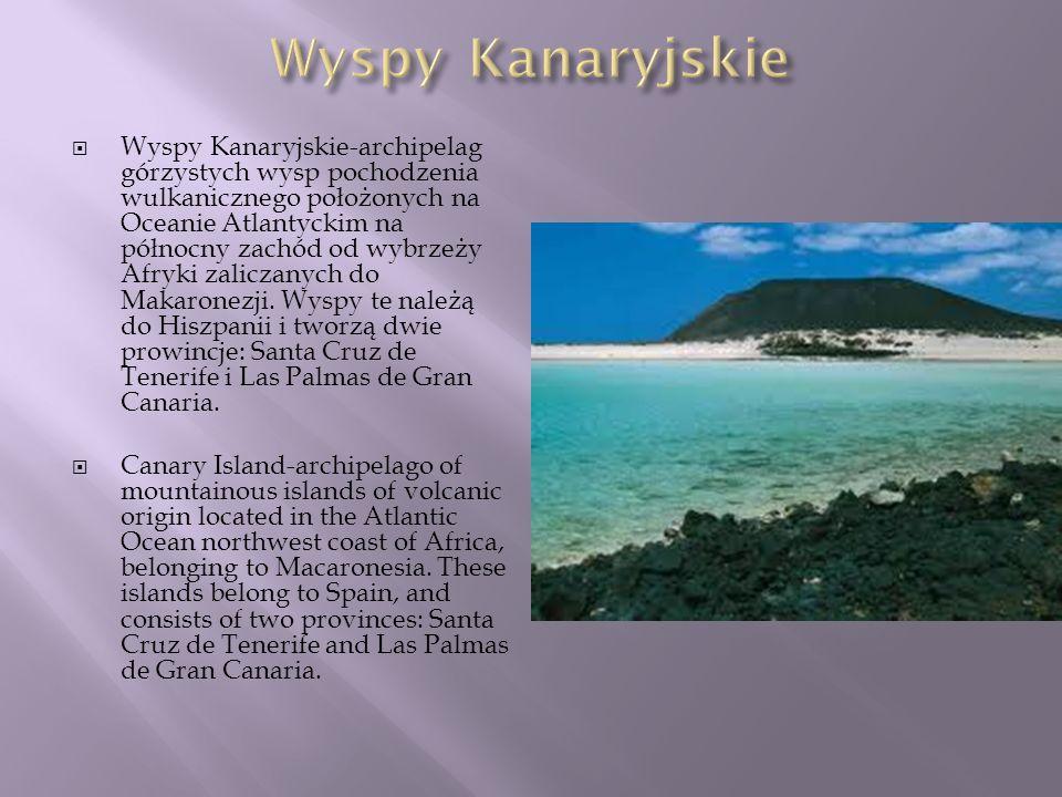 Wyspy Kanaryjskie-archipelag górzystych wysp pochodzenia wulkanicznego położonych na Oceanie Atlantyckim na północny zachód od wybrzeży Afryki zalicza