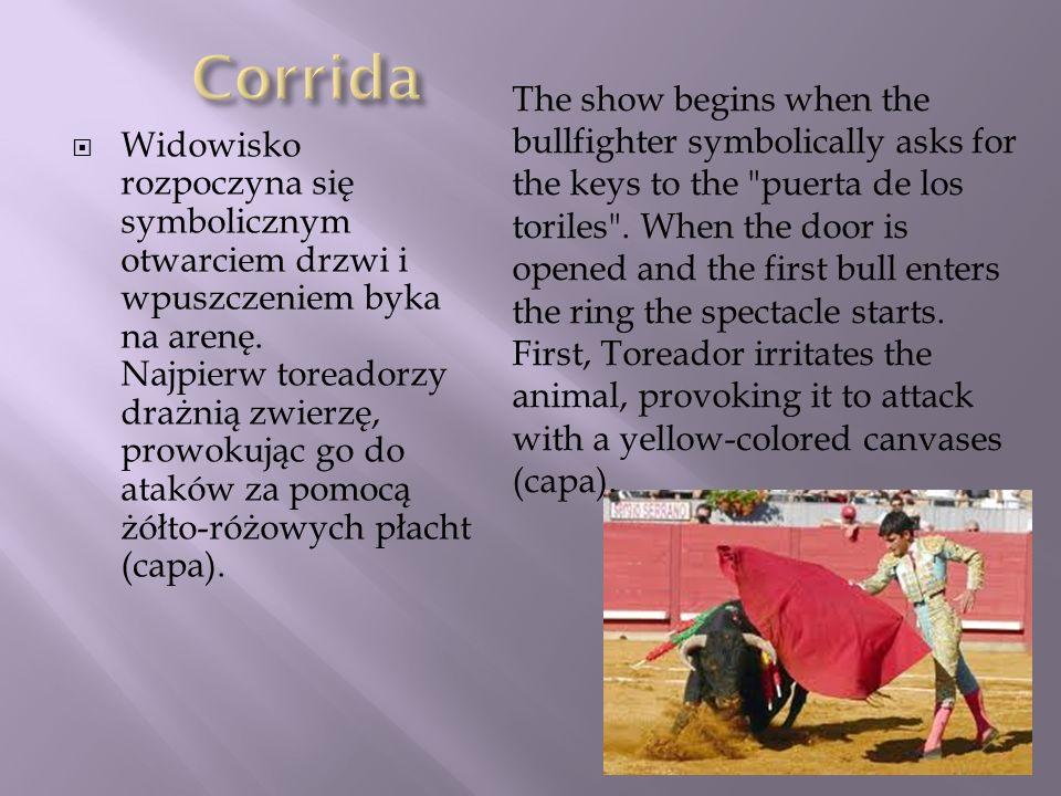 Widowisko rozpoczyna się symbolicznym otwarciem drzwi i wpuszczeniem byka na arenę. Najpierw toreadorzy drażnią zwierzę, prowokując go do ataków za po