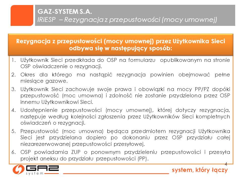 system, który łączy 5 rezygnacja z przydzielonej ciągłej przepustowości (mocy umownej) i zdolności przez ZUP rezygnacja z mocy umownej przez Użytkownika SGT GAZ-SYSTEM S.A.