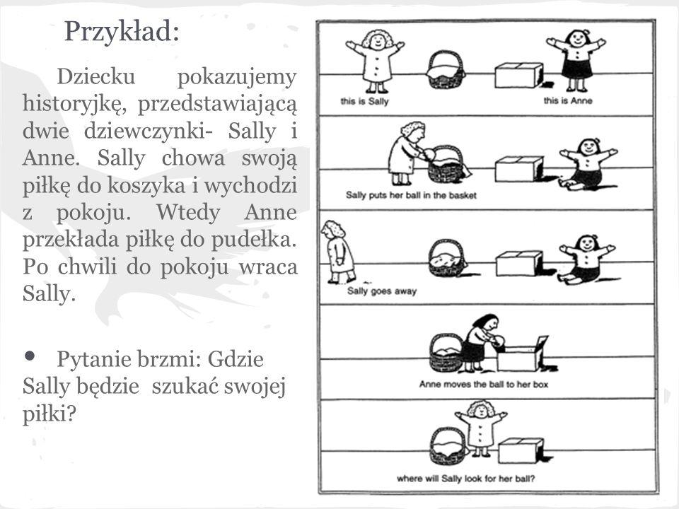 Przykład: Dziecku pokazujemy historyjkę, przedstawiającą dwie dziewczynki- Sally i Anne. Sally chowa swoją piłkę do koszyka i wychodzi z pokoju. Wtedy