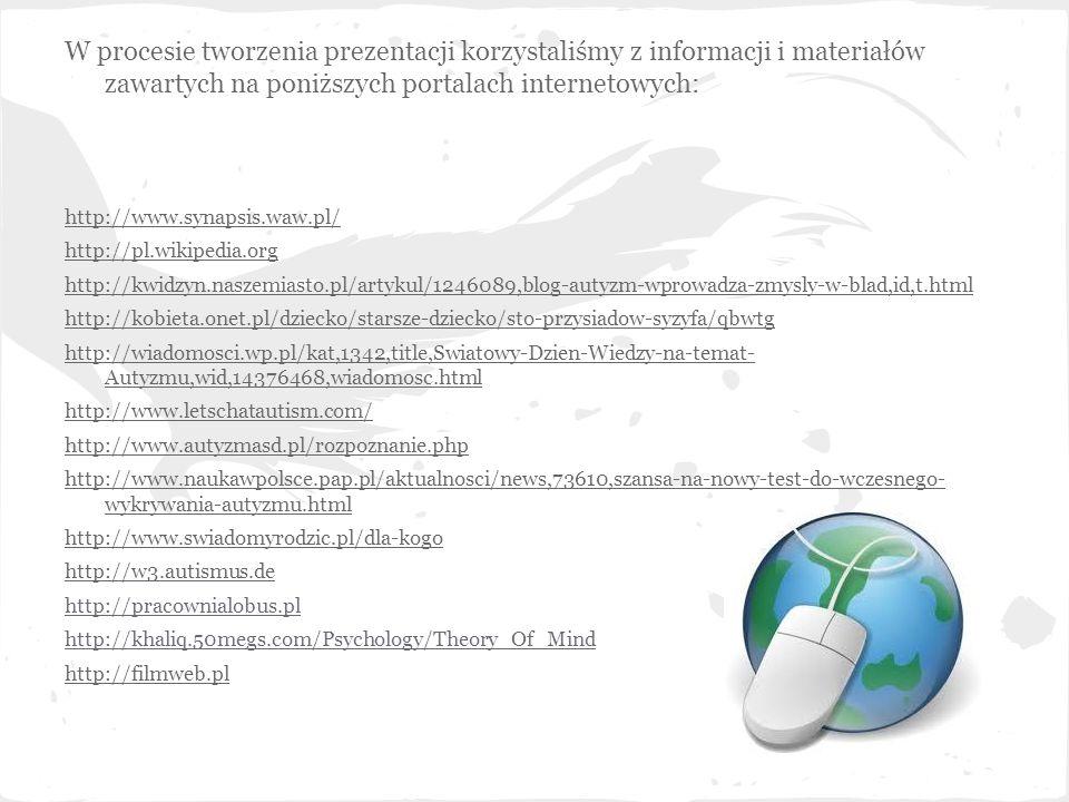 W procesie tworzenia prezentacji korzystaliśmy z informacji i materiałów zawartych na poniższych portalach internetowych: http://www.synapsis.waw.pl/