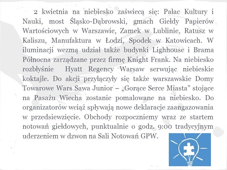2 kwietnia na niebiesko zaświecą się: Pałac Kultury i Nauki, most Śląsko-Dąbrowski, gmach Giełdy Papierów Wartościowych w Warszawie, Zamek w Lublinie,