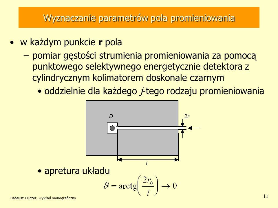 Wyznaczanie parametrów pola promieniowania w każdym punkcie r pola –pomiar gęstości strumienia promieniowania za pomocą punktowego selektywnego energetycznie detektora z cylindrycznym kolimatorem doskonale czarnym oddzielnie dla każdego j-tego rodzaju promieniowania apretura układu Tadeusz Hilczer, wykład monograficzny 11