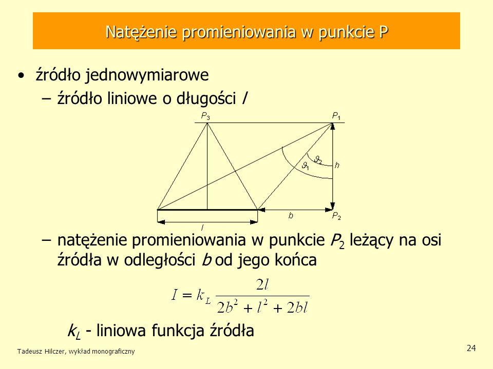 Natężenie promieniowania w punkcie P źródło jednowymiarowe –źródło liniowe o długości l –natężenie promieniowania w punkcie P 2 leżący na osi źródła w