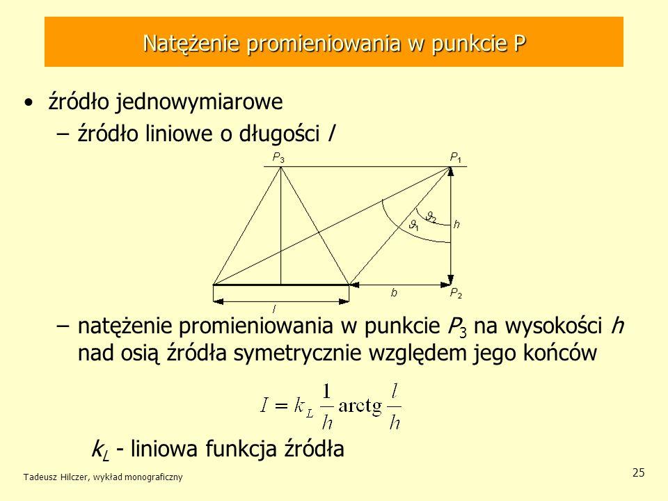 Natężenie promieniowania w punkcie P źródło jednowymiarowe –źródło liniowe o długości l –natężenie promieniowania w punkcie P 3 na wysokości h nad osią źródła symetrycznie względem jego końców k L - liniowa funkcja źródła Tadeusz Hilczer, wykład monograficzny 25