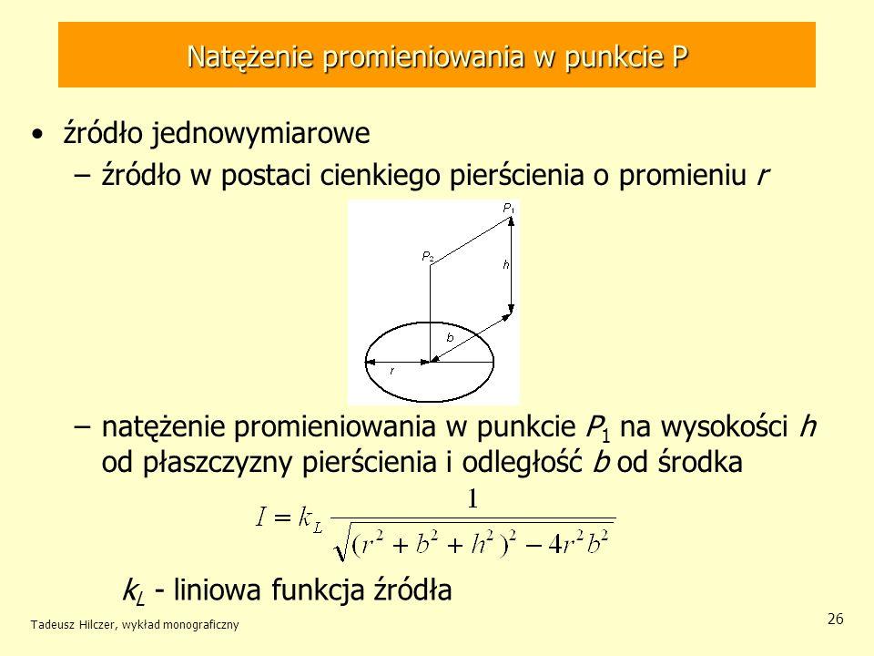 Natężenie promieniowania w punkcie P źródło jednowymiarowe –źródło w postaci cienkiego pierścienia o promieniu r –natężenie promieniowania w punkcie P 1 na wysokości h od płaszczyzny pierścienia i odległość b od środka Tadeusz Hilczer, wykład monograficzny 26 k L - liniowa funkcja źródła