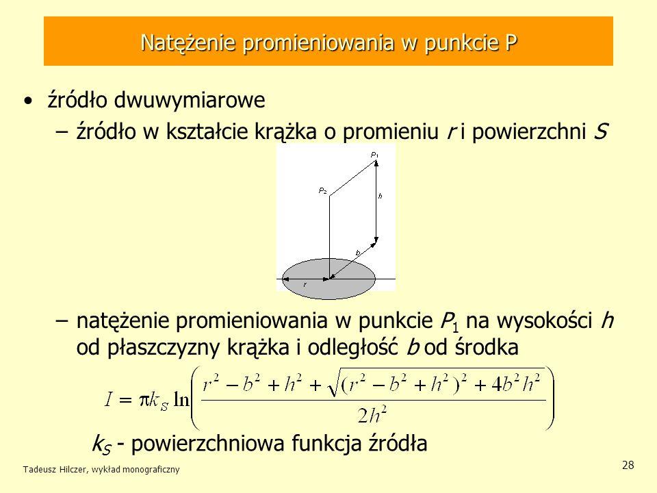 Natężenie promieniowania w punkcie P źródło dwuwymiarowe –źródło w kształcie krążka o promieniu r i powierzchni S –natężenie promieniowania w punkcie