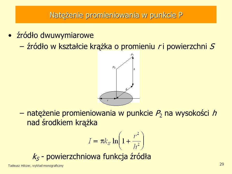 Natężenie promieniowania w punkcie P źródło dwuwymiarowe –źródło w kształcie krążka o promieniu r i powierzchni S –natężenie promieniowania w punkcie P 2 na wysokości h nad środkiem krążka Tadeusz Hilczer, wykład monograficzny 29 k S - powierzchniowa funkcja źródła