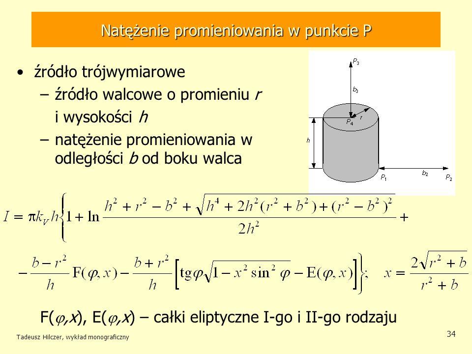 Natężenie promieniowania w punkcie P źródło trójwymiarowe –źródło walcowe o promieniu r i wysokości h –natężenie promieniowania w punkcie P 2 w odległ