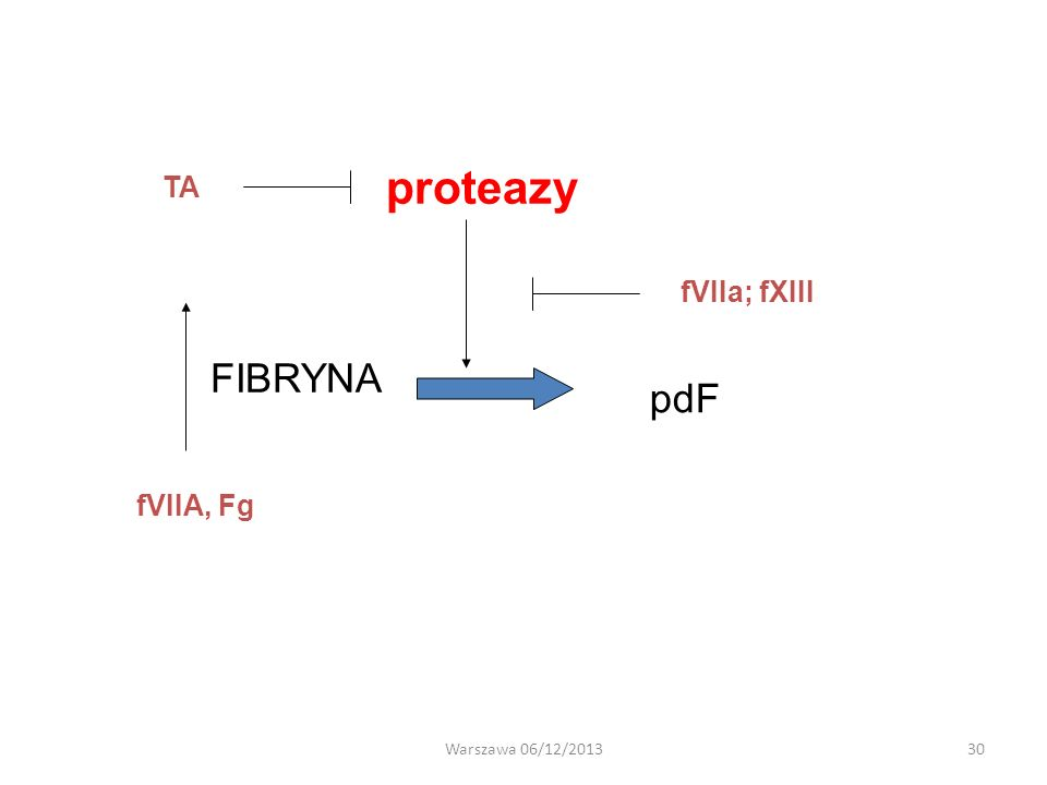 FIBRYNA pdF proteazy TA fVIIa; fXIII fVIIA, Fg Warszawa 06/12/201330