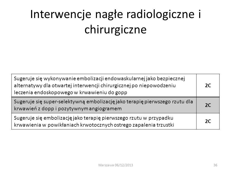 Interwencje nagłe radiologiczne i chirurgiczne Sugeruje się wykonywanie embolizacji endowaskularnej jako bezpiecznej alternatywy dla otwartej interwen