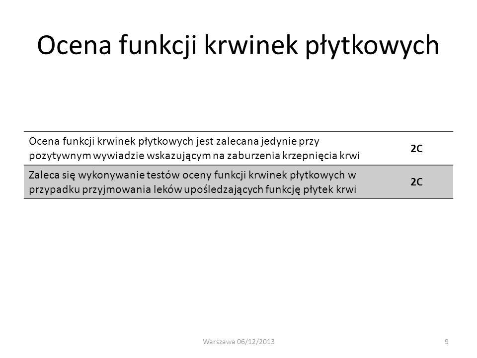 Ocena funkcji krwinek płytkowych Ocena funkcji krwinek płytkowych jest zalecana jedynie przy pozytywnym wywiadzie wskazującym na zaburzenia krzepnięci