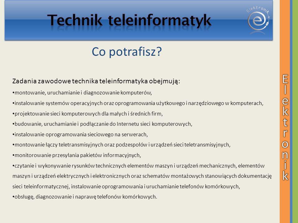 Zadania zawodowe technika teleinformatyka obejmują: montowanie, uruchamianie i diagnozowanie komputerów, instalowanie systemów operacyjnych oraz oprog