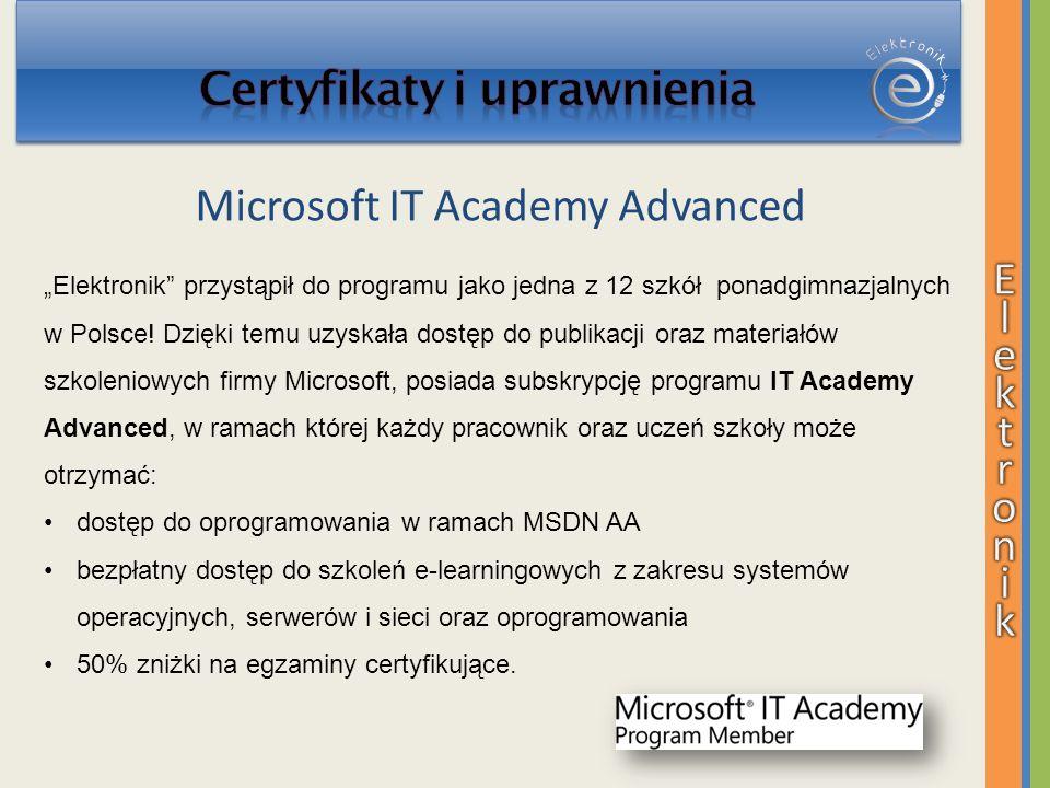 Elektronik przystąpił do programu jako jedna z 12 szkół ponadgimnazjalnych w Polsce! Dzięki temu uzyskała dostęp do publikacji oraz materiałów szkolen